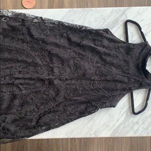 Mock neck lace dress